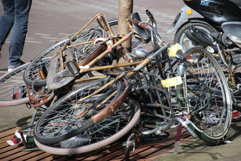 Bicis abandonadas y viejas en la calle que se marcan con la etiqueta que se quitará por el municipio de Den Haag en los Países Ba fotos de archivo libres de regalías