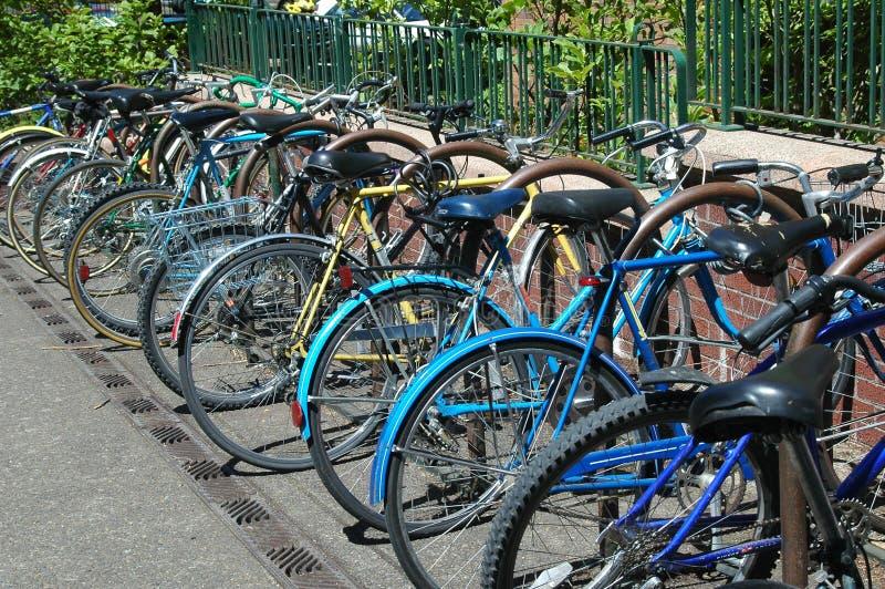 Bicis bloqueadas en campus de la universidad fotos de archivo libres de regalías