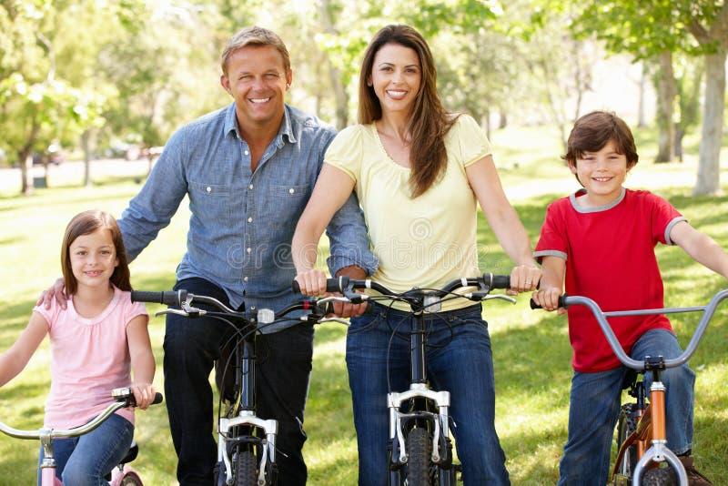 Bicis del montar a caballo de la familia en parque fotos de archivo libres de regalías