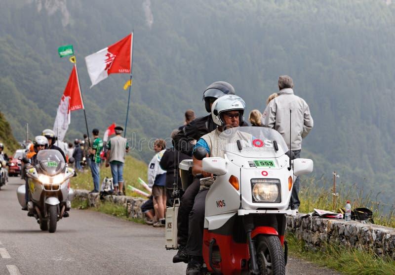 Bicis oficiales durante el viaje de Francia imagen de archivo