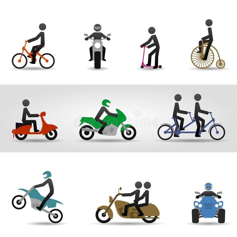 Bicis y motocicletas ilustración del vector