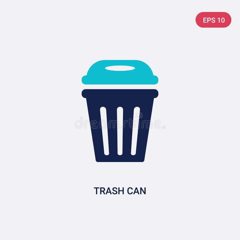 Bicolor bote de basura icono del vector del concepto del fútbol americano azul aislada bote de basura símbolo de la muestra del v libre illustration