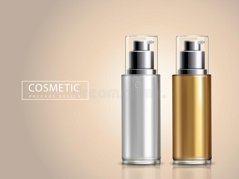 Bicolor cosmetic bottles. Blank golden and silver cosmetic bottle models, 3D illustration stock illustration