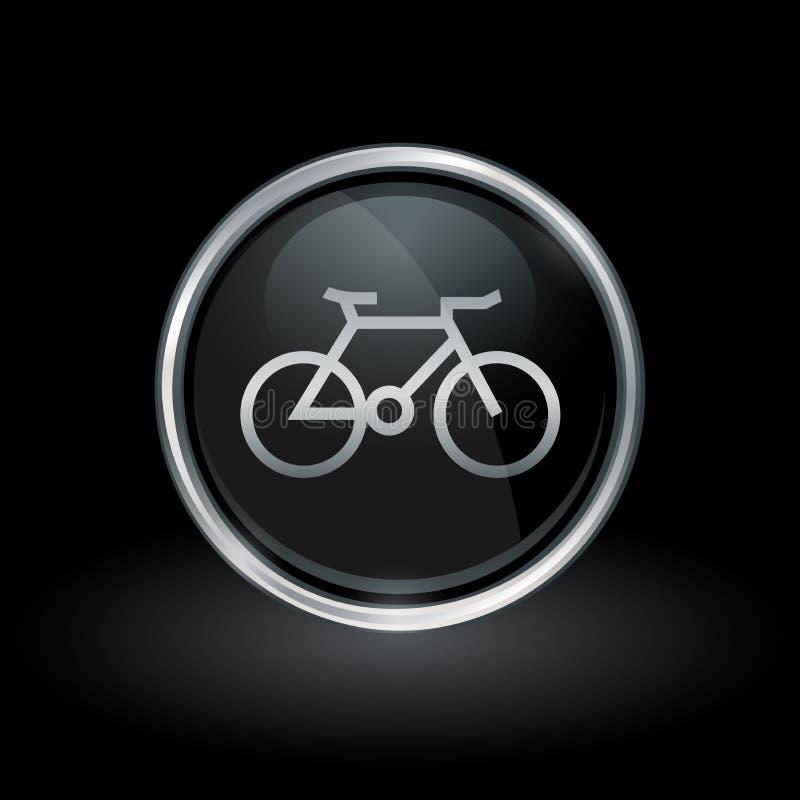 Bicycle значок внутри круглого серебра и черной эмблемы иллюстрация вектора