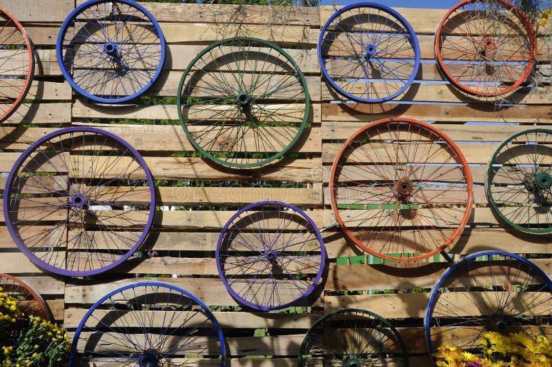 Bicycle цвета оправы различные повешенные на стене стоковое фото rf