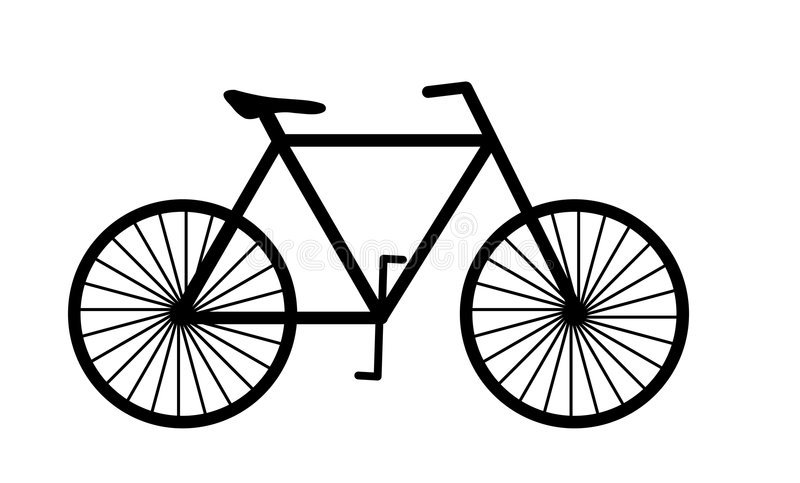 Bicycle. Silhouette image of a bicycle against white