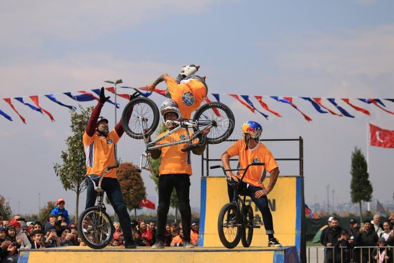 Bicycle acrobatics show royalty free stock photography