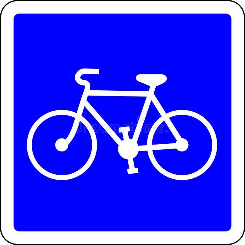 Bicycle allowed road sign. Bicycle allowed blue road sign royalty free illustration