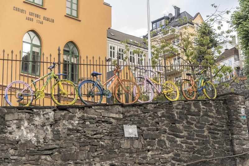 Bicycle art installation in Bergen stock images