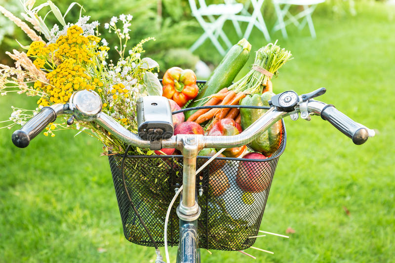 Bicycle basket filled with fresh vegetables and flowers royalty free stock image