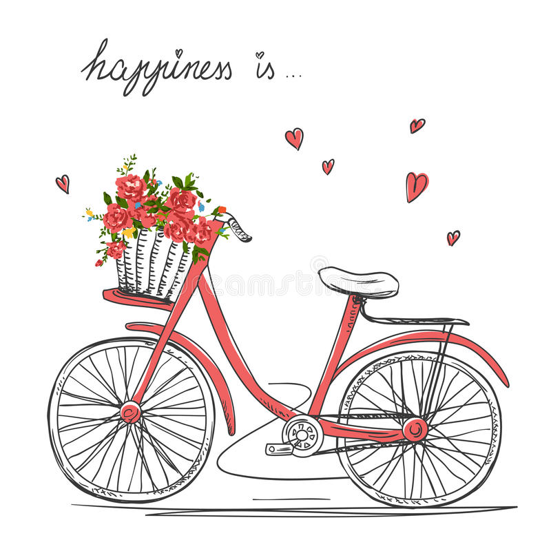 Bicycle girl stock vector. Illustration of floral ...