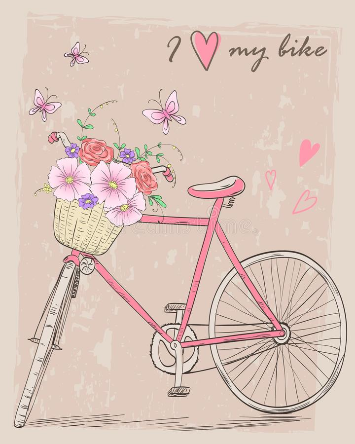 Bicycle with a basket full of flowers on background with butterflies and inscription I love my bike. royalty free illustration