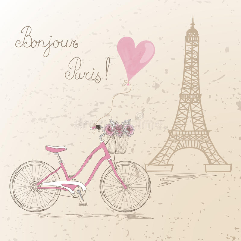 Bicycle with a basket full of flowers on the background Eiffel Tower in Paris. stock illustration