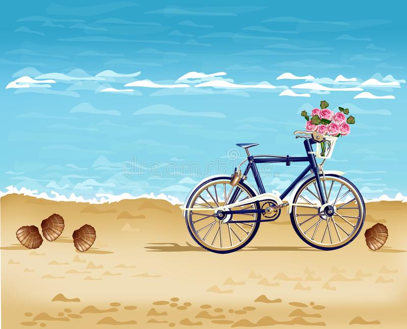 Bicycle on the beach card Vector realistic. Detailed 3d illustrations. Bicycle on the beach card Vector realistic. Summer travel. Detailed 3d illustration vector illustration