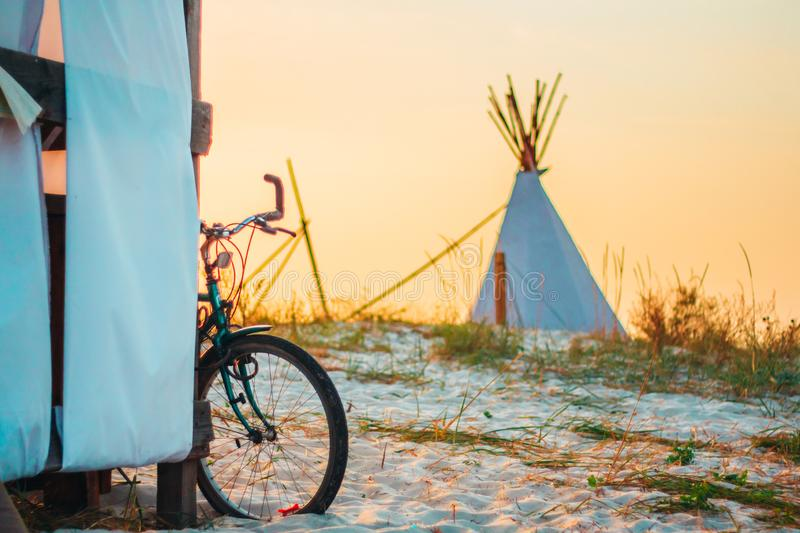 A bicycle on the beach stock photo