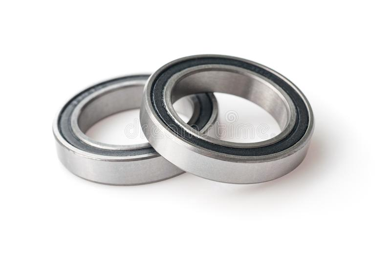 Bicycle bearings over white background royalty free stock photo