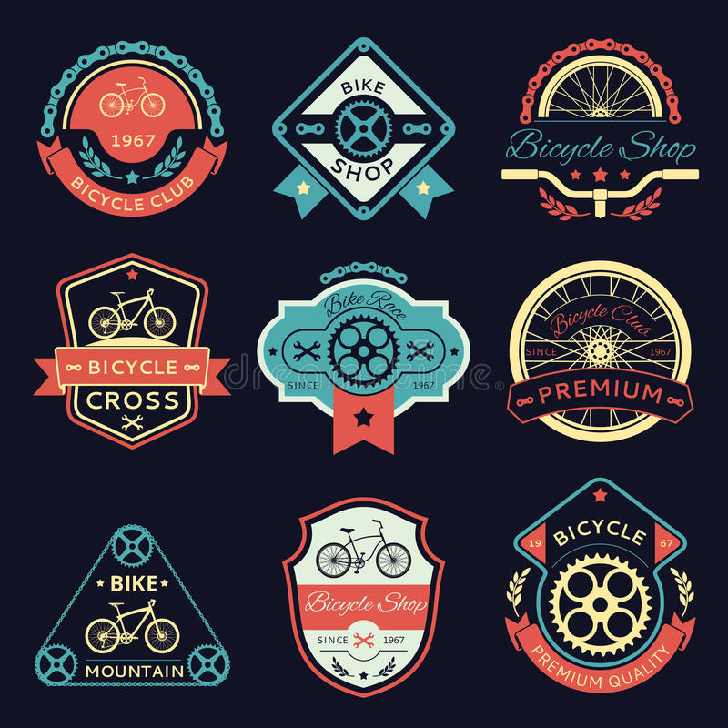 Bicycle and bike color vector logo stock illustration