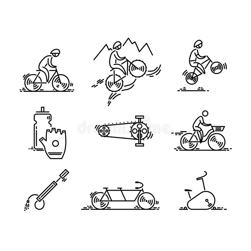Bicycle. Bike types icon vector. Cycling set. Thin line icons. vector illustration