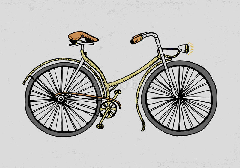 Bicycle, bike or velocipede. travel illustration. engraved hand drawn in old sketch style, vintage transport. vector illustration