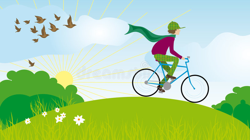 Bicycle boy stock photo