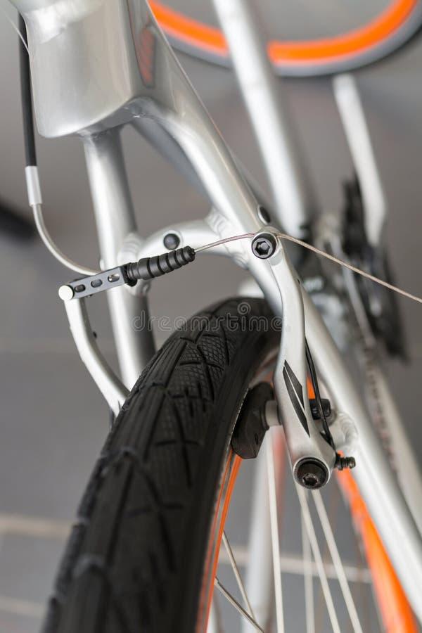 Bicycle brake detail. Close up of a bicycle brake stock image