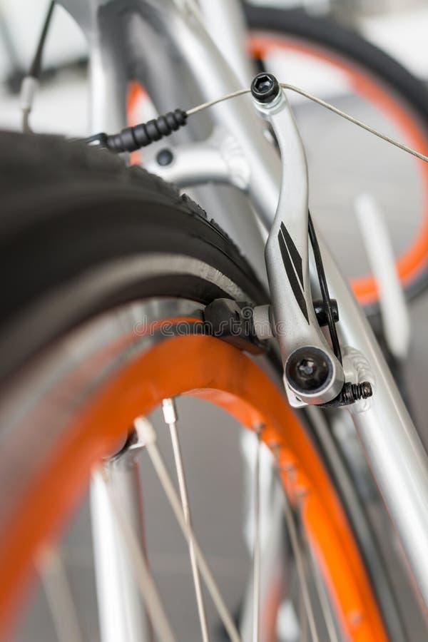 Bicycle brake detail. Close up of a bicycle brake royalty free stock image