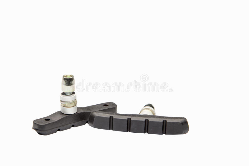 Bicycle brake pad isolated. Object on white background stock photography