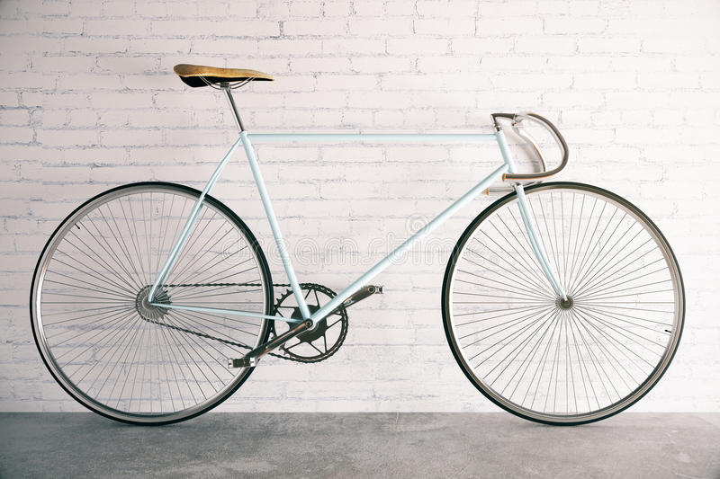 Bicycle in brick interior. 3D Rendering royalty free illustration
