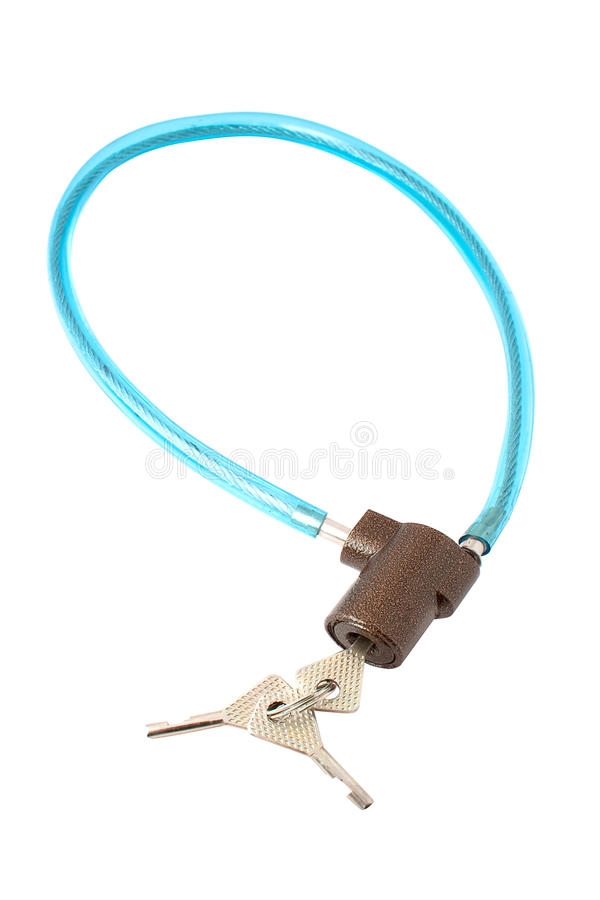 BICYCLE CABLE LOCK. Blue with three keys on a white background stock photos