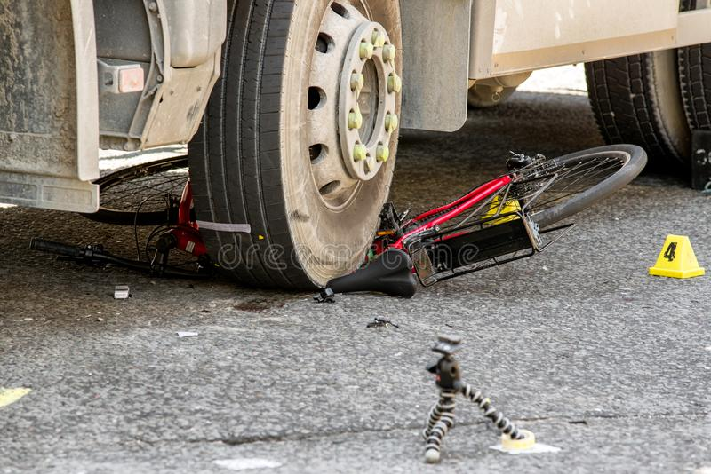 Bicycle car accident royalty free stock photos