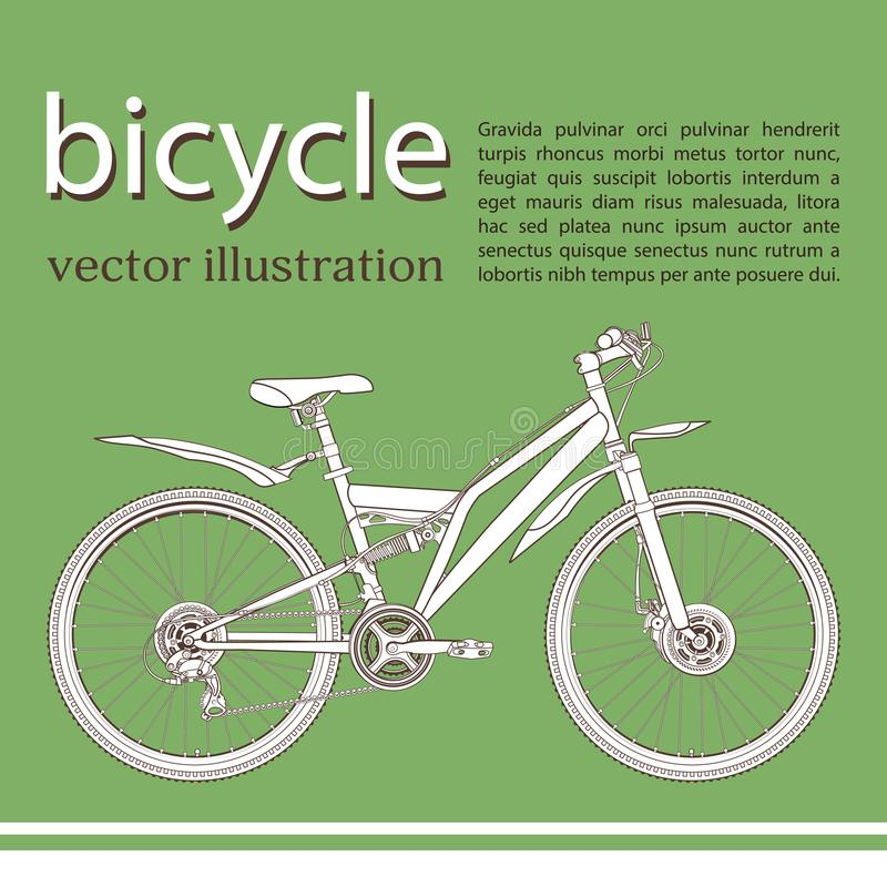 Bicycle cartoon contour drawing, banner, card, cover, coloring, sketch. White with black outline picture bike half-face with many stock illustration