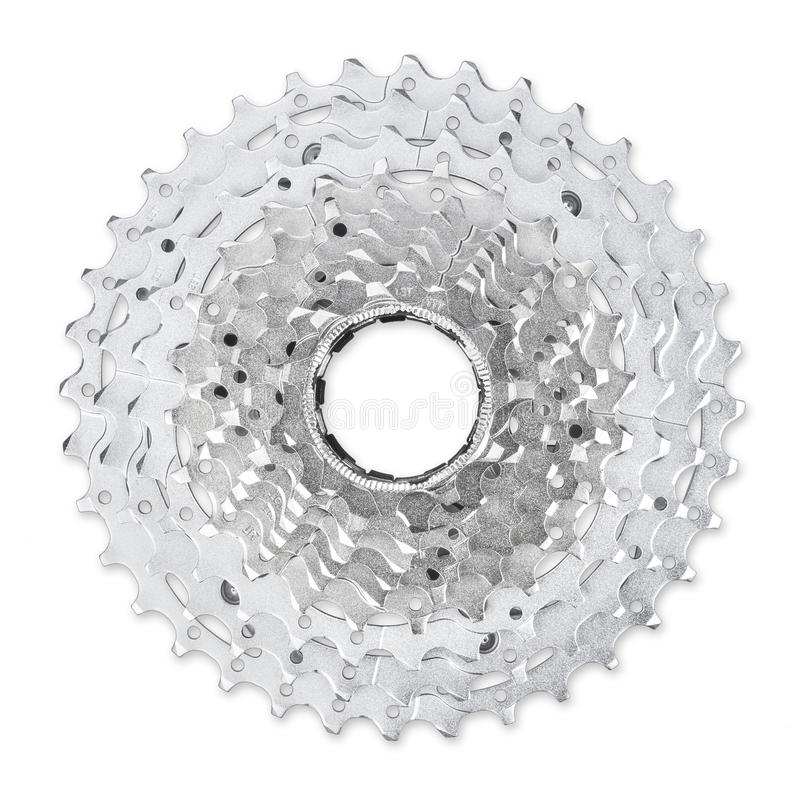 Bicycle cassette. Bicycle casette isolated on white background royalty free stock images