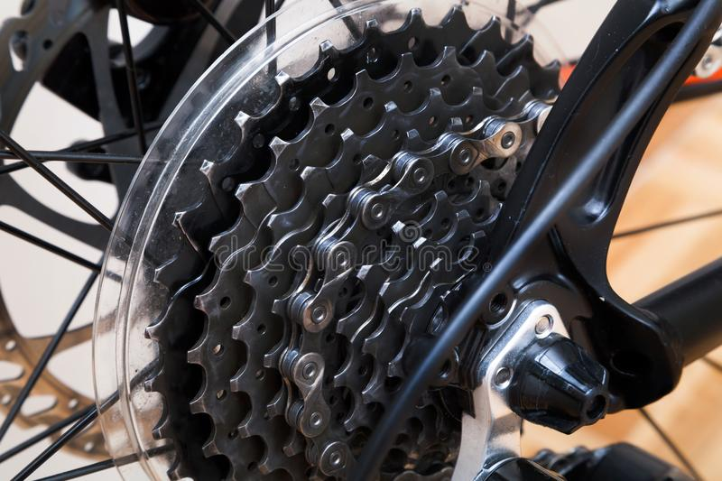 Bicycle cassette close up. Shot of Bicycle cassette close up stock image