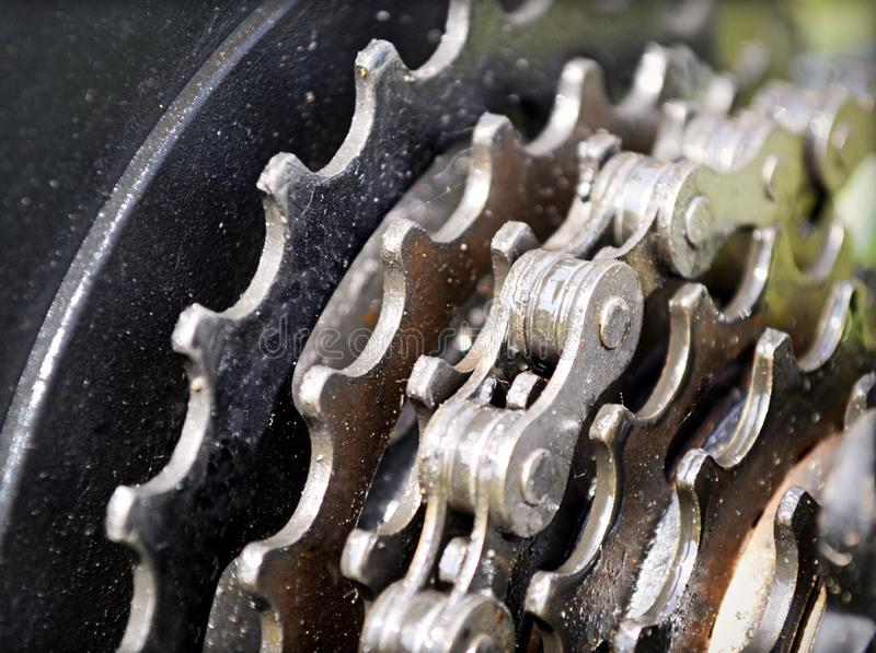 Bicycle chain and freewheel gears stock photos