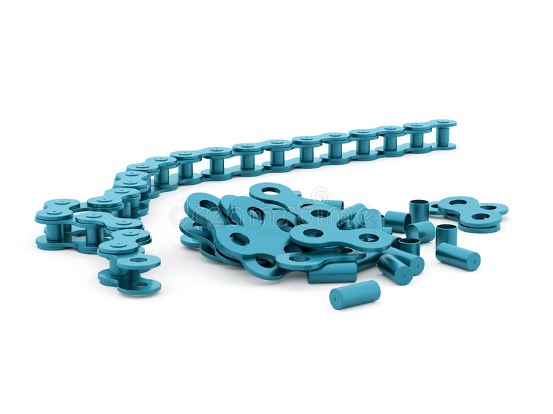 Bicycle chain rendered on white background. Blue bicycle chain rendered on white background vector illustration