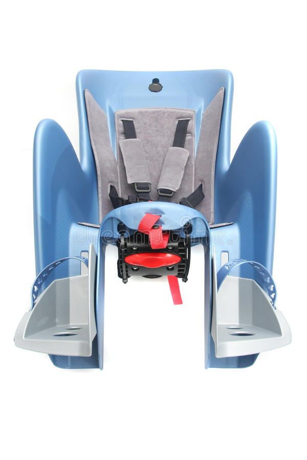 Bicycle child seat. Blue bicycle child seat for the rear end royalty free stock image