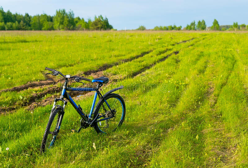 The bicycle costs in a grass royalty free stock photography