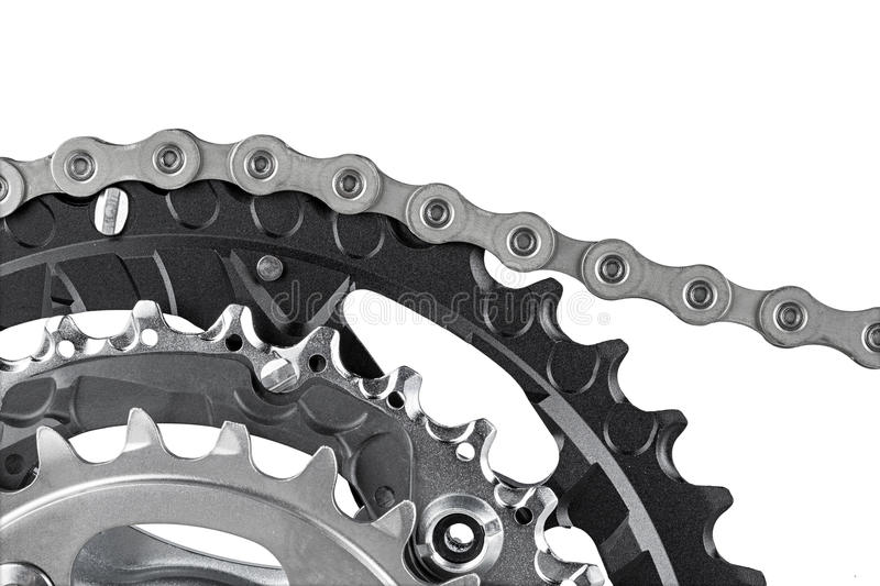 Bicycle crank and chain royalty free stock photos