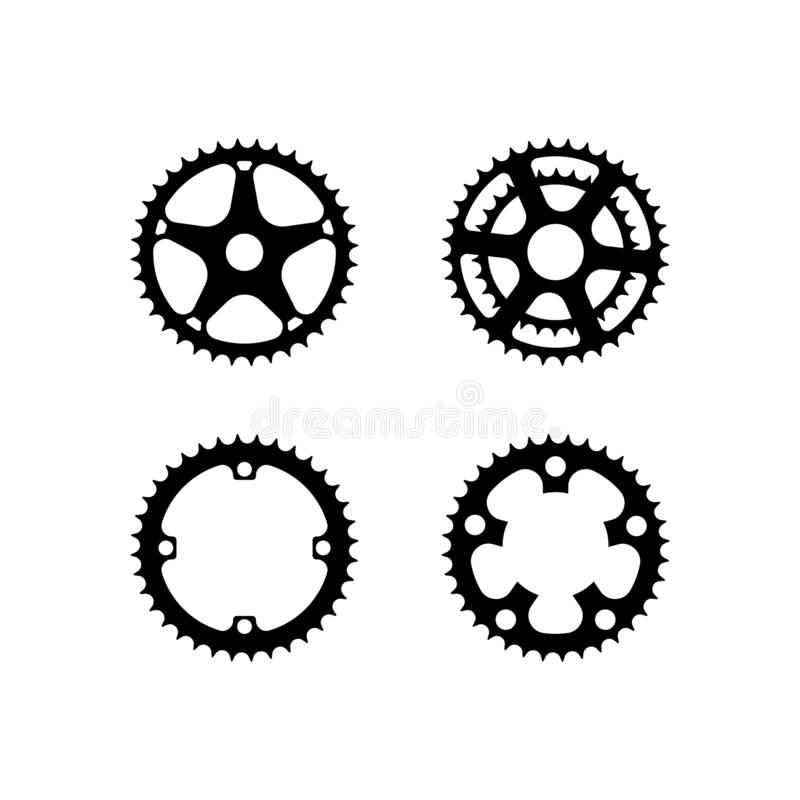 Bicycle crank vector collection. Bicycle crank or gear vector collection vector illustration