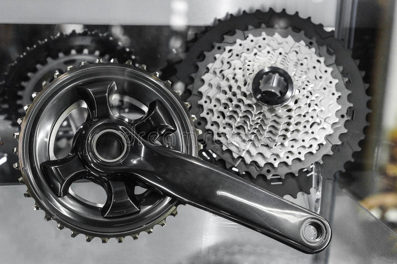 Bicycle crank and rear cassette stock image