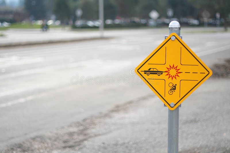 Download Bicycle Crossing Sign And Road Stock Image - Image: 6291677