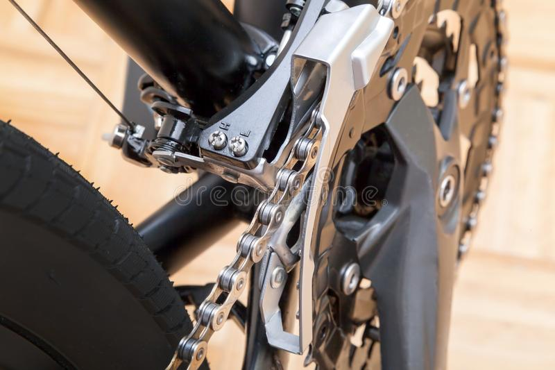 Bicycle drivetrain system. Shot of Bicycle cassette close up stock photos