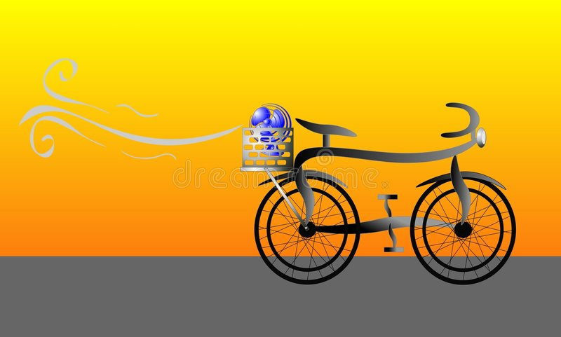 Bicycle With Fan In Carrier Illustration Royalty Free Stock Photography