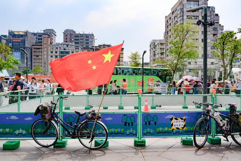 Bike with Chinese Flag in Taipei, Taiwan, Republic of China, bicycle with Chinese Flag stock image