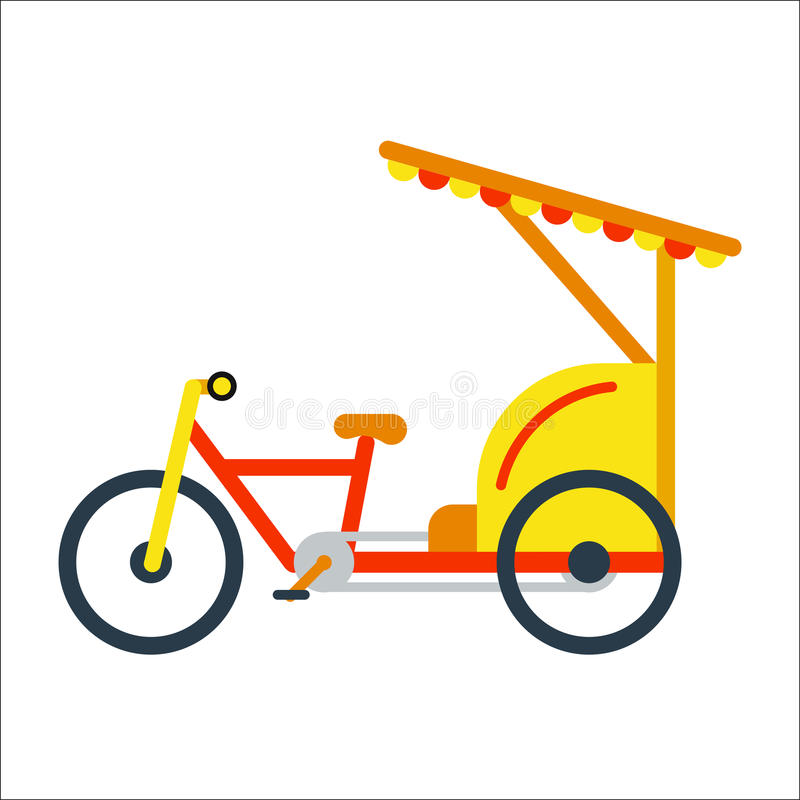 Bicycle flat style isolated on white background vector illustration. Ecology friendly bike summer outdoor adventure. Street cycle fast road transport. Sport stock illustration