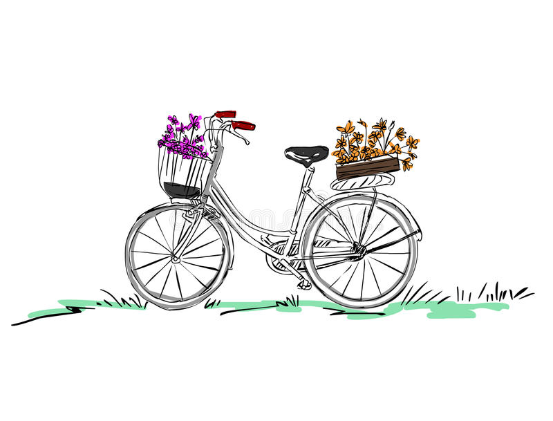 Download Bicycle with flower stock illustration. Image of design - 42264483