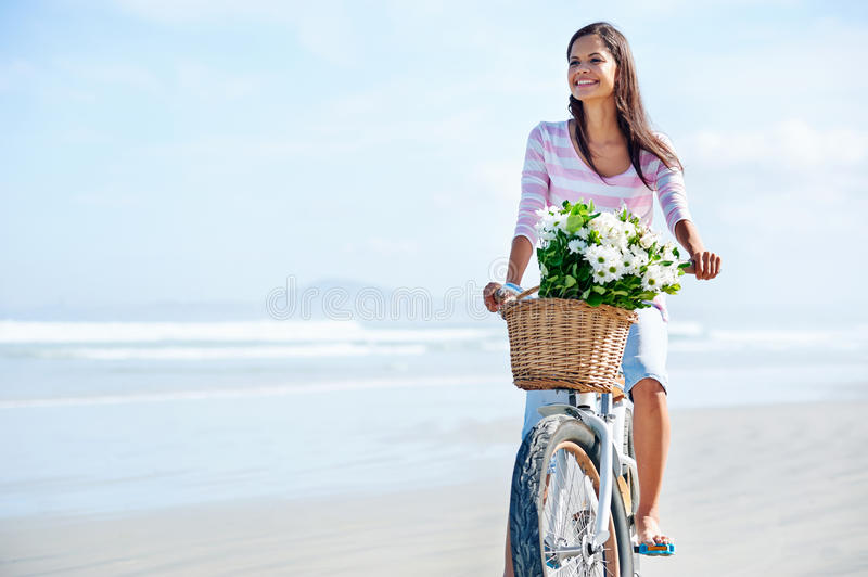 Bicycle flower woman stock photography
