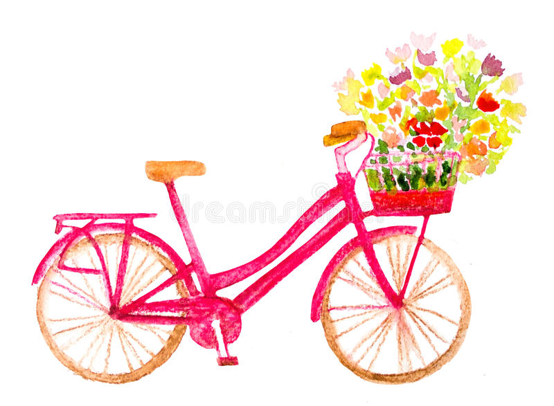 Bicycle with flowers stock illustration