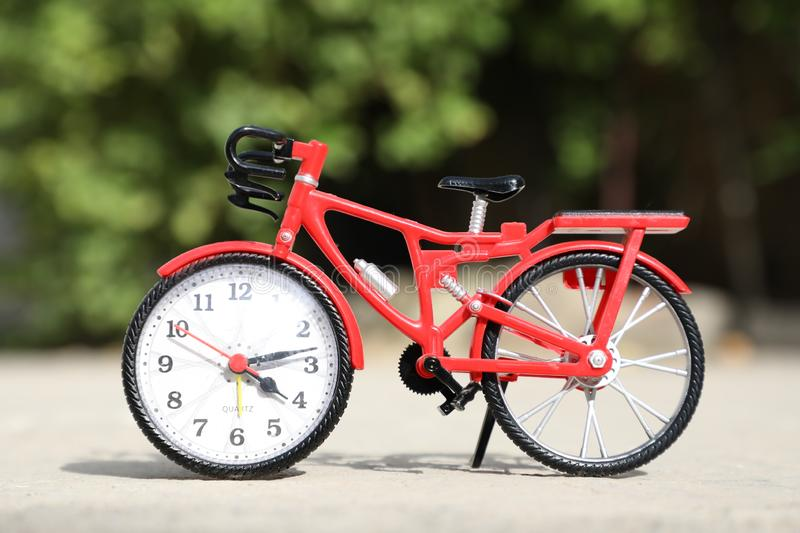 Bicycle on a foggy background. Home office accessories royalty free stock images