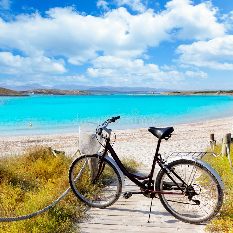 Download Bicycle In Formentera Beach On Balearic Islands Stock Photo - Image of landscape, environment: 25410476